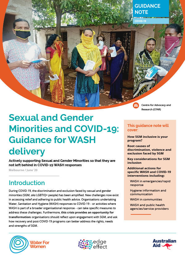 Front cover of SGM inclusion and COVID-19 WASH guidance note
