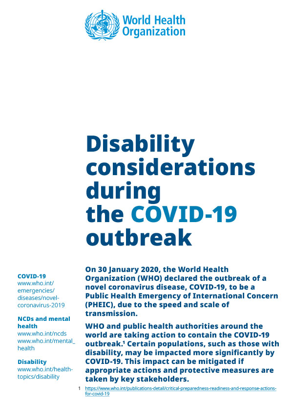 WHO guidance brief cover for disability inclusion and COVID-19