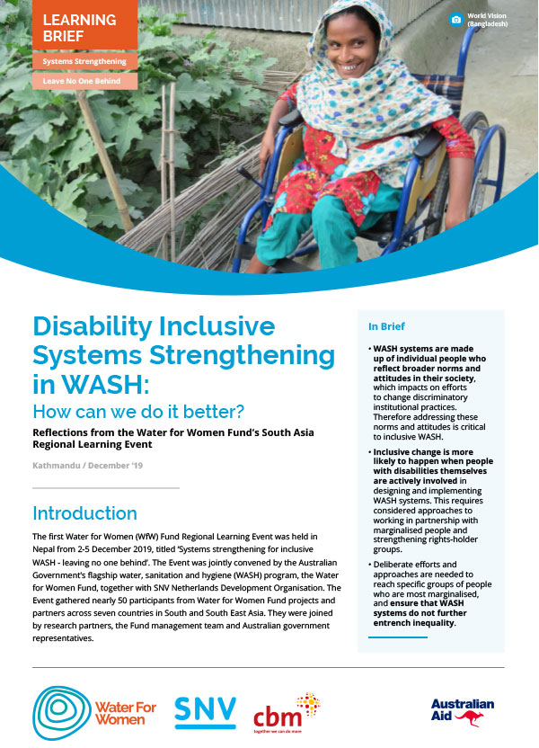 Systems Strengthening and Disability Inclusion cover page