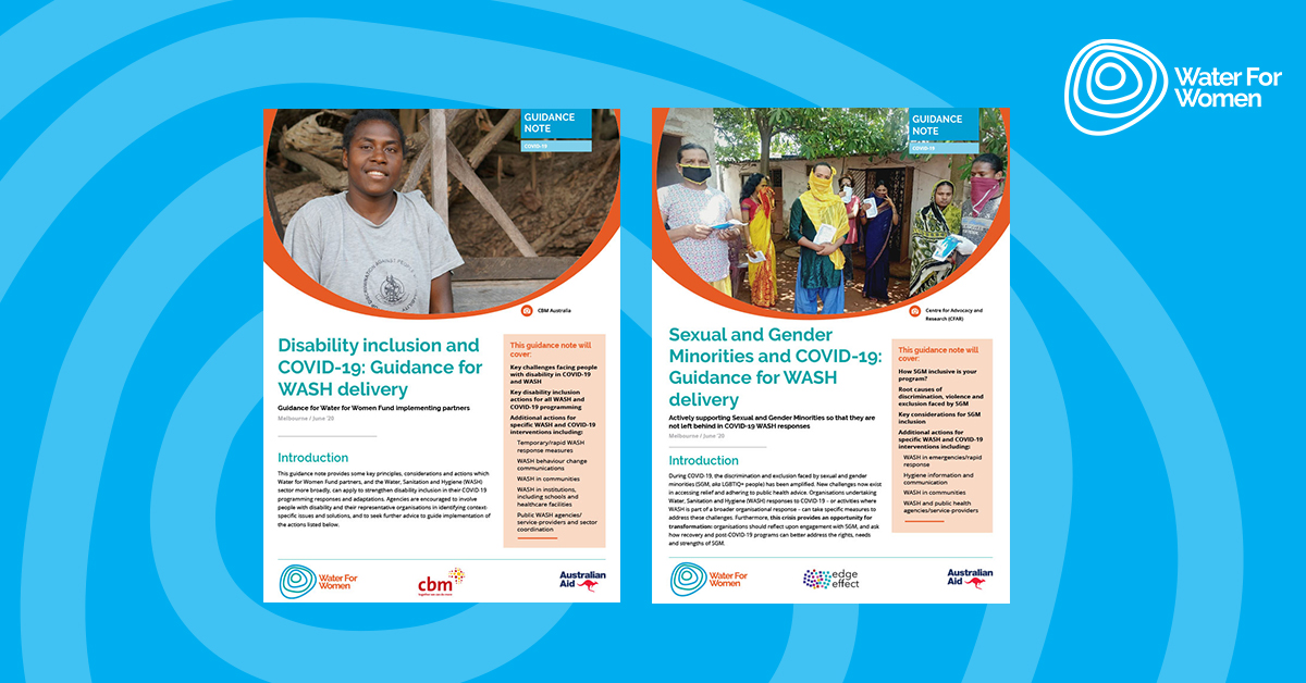 Blue rectangle featuring two covers for Inclusion guidance notes, one with a smiling woman and the other with a group of transgender women