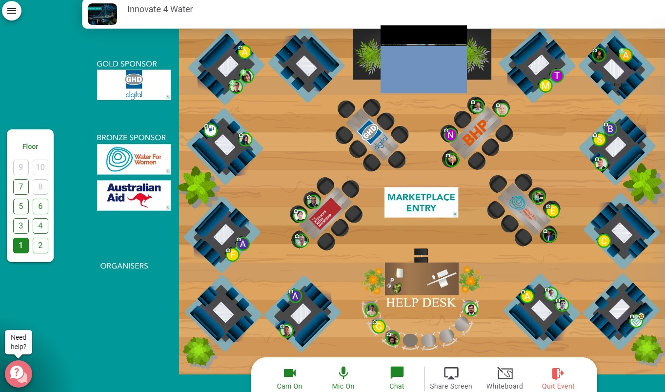 Birds eye view of a digital marketplace with conference style seating