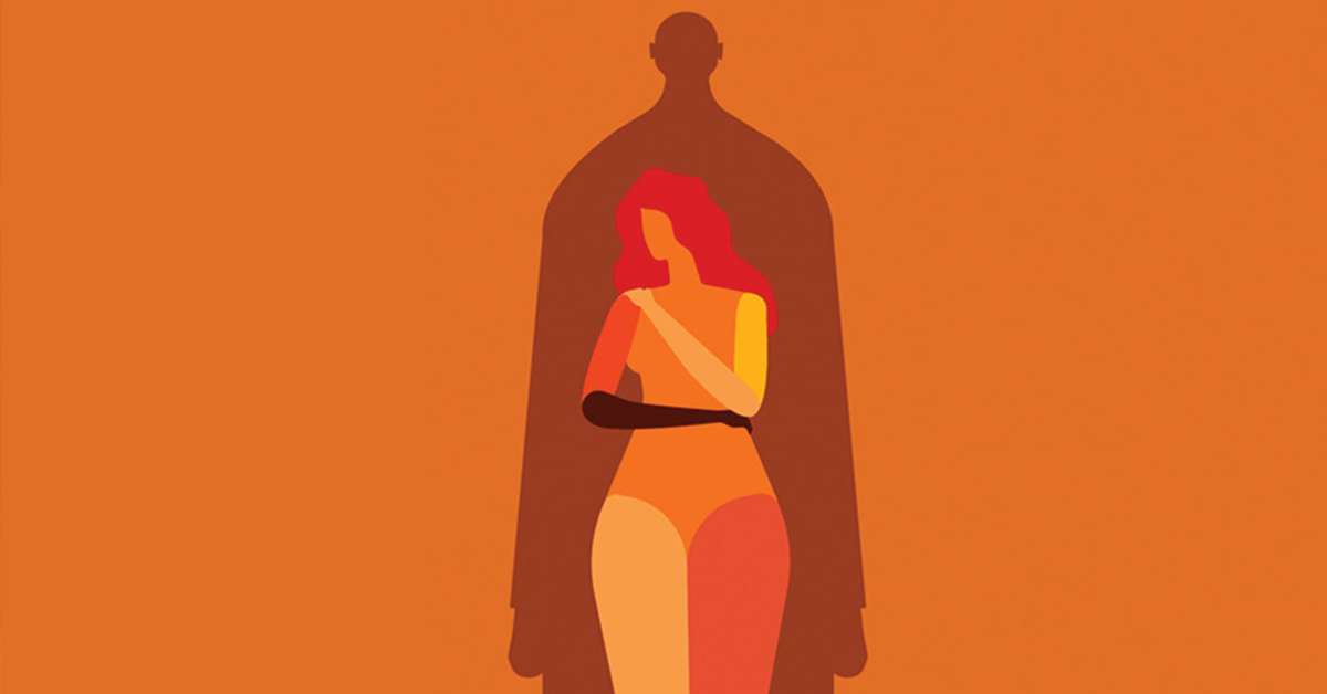 An illustration of a woman protecting herself as the shadow of a man stands over her, representative of gender based violence