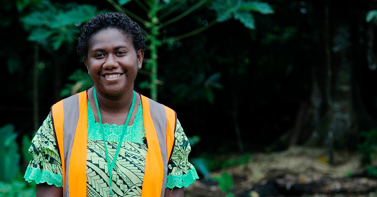 Smiling woman outdoors in Vanuatu