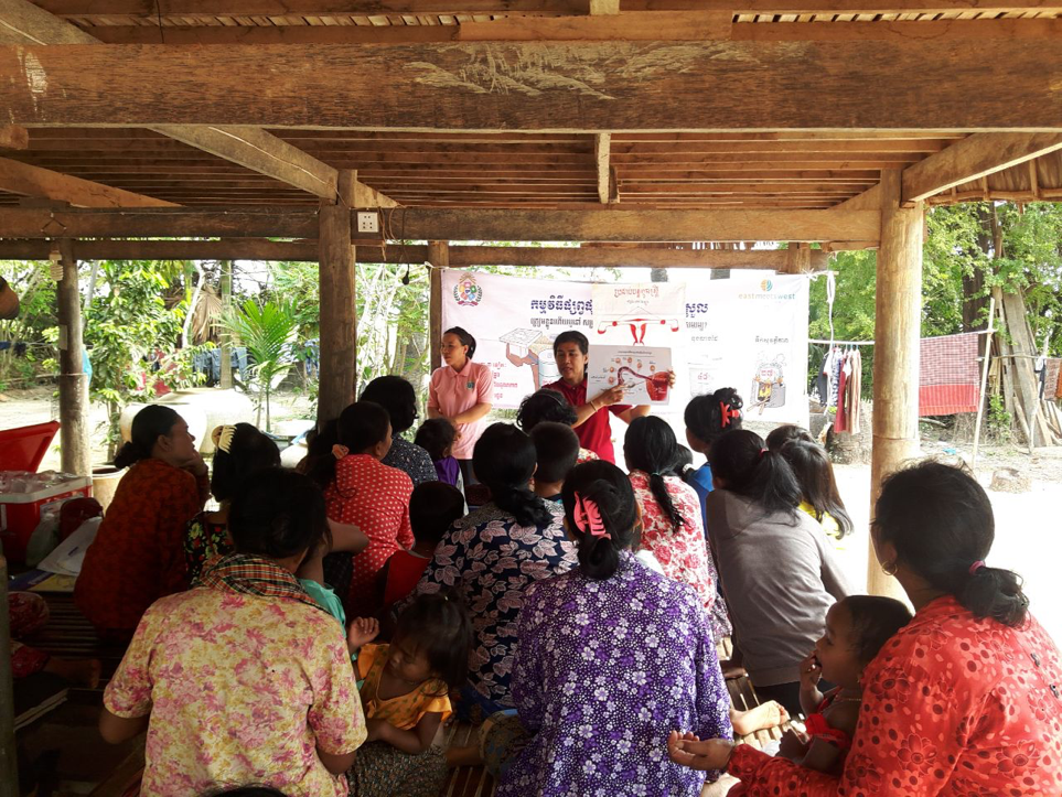 Group of women in Cambodia learning about Menstrual Hygiene Management