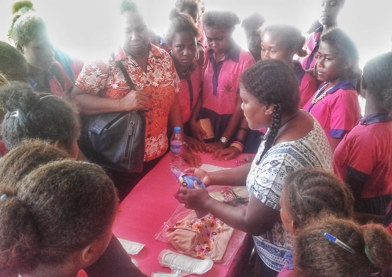 A workshop on using reusable pads for menstruation