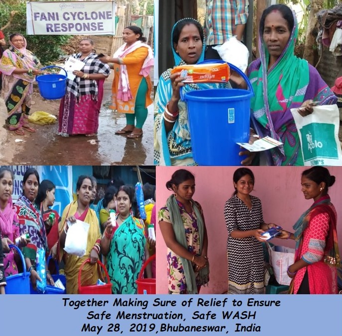 Photo collage of WASH kit distribution in India