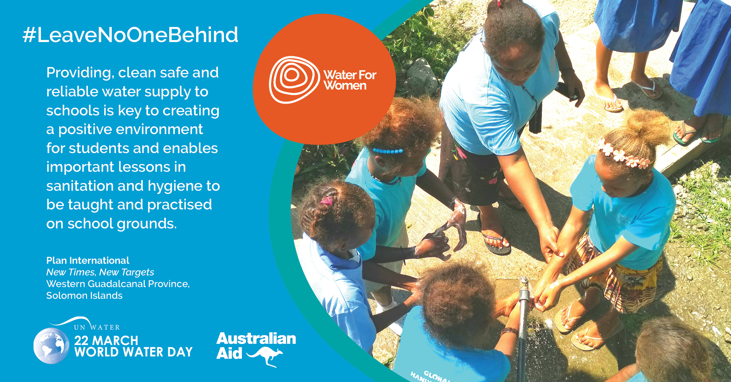 Solomon Islander children washing their hands with water at school